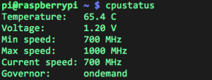 Output of my cpustatus script when the CPU is idle.