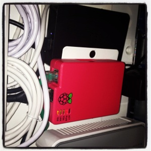 My Raspberry Pi in the network closet.